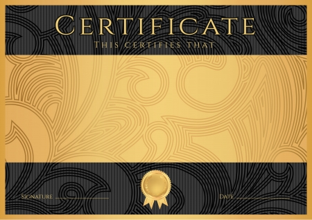 certificates: Certificate, Diploma of completion  black design template, dark background  with floral, filigree pattern, scroll border, frame  Gold Certificate of Achievement, coupon, award, winner certificate Illustration