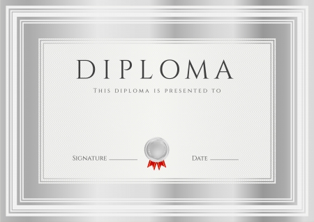 Diploma, Certificate of completion  design template, background  with silver frames  Diploma of Achievement, Winner Certificate  second place , Award