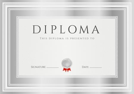 elegante: Diploma, Certificato di completamento modello di progettazione, sfondo con cornici d'argento Diploma di Realizzazione, Vincitore Certificato secondo posto, Premio