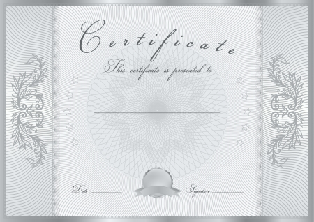 debenture stock: Certificate, Diploma of completion  design template, background  with guilloche pattern  watermark , scroll border, frame  Silver Certificate of Achievement, coupon, award, winner