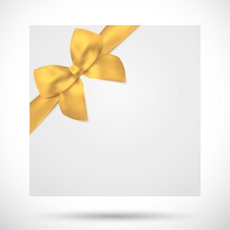 Ferienkarte, Weihnachtskarte, Geburtstagskarte, Geschenkkarte Grusskarte Vorlage mit großen üppigen Goldbogen gelbe Bänder, Gegenwart Ferien Feier Hintergrund für die Einladung Design, Banner-Vektor Vektorgrafik