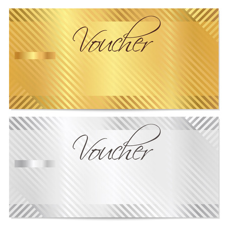 Voucher, Gift certificate, Coupon template with stripe pattern  Gold and silver background for money design, currency, note, check  cheque , ticket, reward  Vector