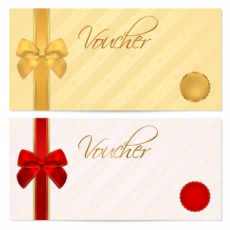 Voucher, Gift certificate, Coupon template with stripe pattern, red and gold bow  Background for invitation, money design, currency, note, check  cheque , ticket, reward  Vector Vettoriali