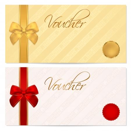 fiocco oro: Buono, Buono regalo, modello Coupon con motivo a righe, rosso e oro prua Sfondo per l'invito, design denaro, valuta, nota, check check, biglietto, premio Vector
