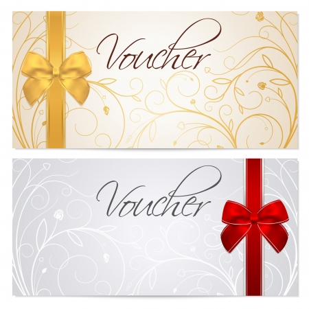 Voucher, Gift certificate, Coupon template with floral scroll pattern, red and gold bow  Background for invitation, money design, currency, note, check  cheque , ticket, reward  Vector Illustration