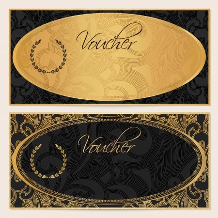 Voucher, Gift certificate, Coupon template  Floral, scroll pattern, gold ellipse frame  Black background design for invitation, ticket, banknote, money design, check  cheque   Vector