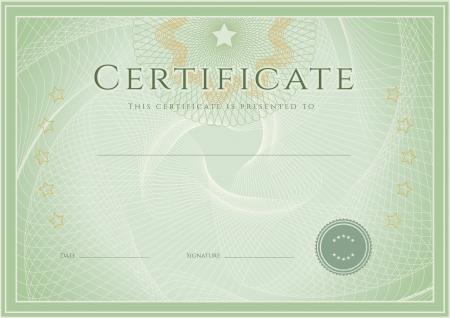 vzdělávací: Certifikát, diplom o dokončení návrhu šablony, pozadí s gilošovaným vzorem vodoznakem, rozeta, hranice, rám Zelená Certifikát Achievement, vzdělávání, poukázka, cena, vítěz Vector