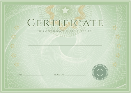 Certificate, Diploma of completion  design template, background  with guilloche pattern  watermark , rosette, border, frame  Green Certificate of Achievement, education, coupon, award, winner  Vector
