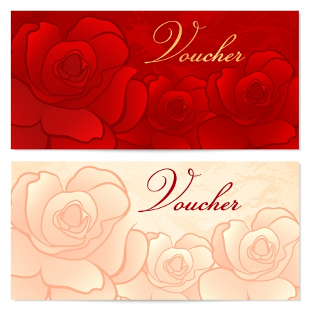 Voucher, Gift certificate, Coupon template with floral rose pattern  Red background for invitation, money design, currency, note, check  cheque , ticket, reward  Vector Vector