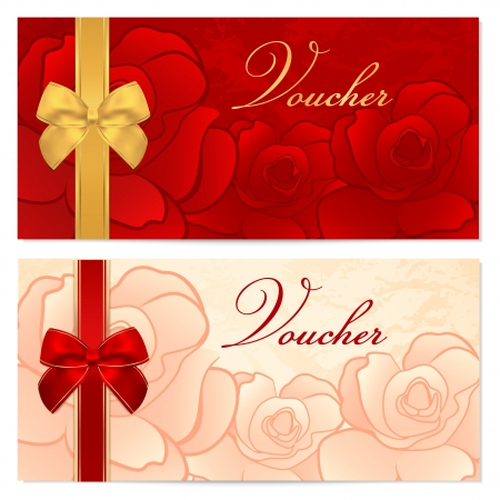 Voucher, Gift certificate, Coupon template with floral rose pattern, red and gold bow  Background for invitation, money design, currency, note, check  cheque , ticket, reward  Vector Vector