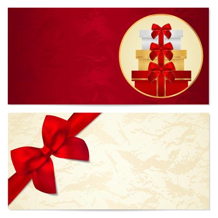 burgundy ribbon: Buono, Buono regalo, modello Coupon con il vecchio modello, struttura, fiocco rosso, regali, presenta Sfondo per l'invito, design denaro, valuta, nota, check check, biglietto, premio Vector