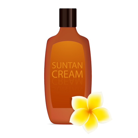 suntan: Suntan cream with plumeria  frangipani  - asian yellow, white flower  Vector Illustration of beach stuff  isolated icons on white background  Illustration