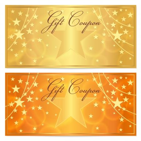 상품권, 상품권, 별 패턴 휴일 금과 돈 디자인, 통화, 노트 오렌지 배경으로 쿠폰 템플릿 벡터, 보상, 티켓에 체크하십시오 일러스트