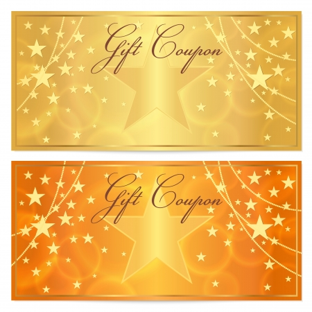 certificate template: Gift certificate, Voucher, Coupon template with stars pattern  Holiday gold and orange background for money design, currency, note, check  cheque , ticket, reward  Vector