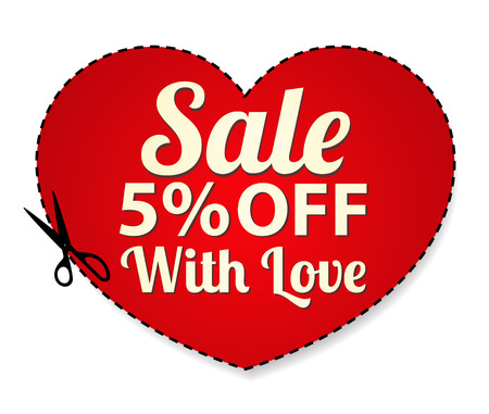 Vector Sale Coupon, label  banner, tag  red template  design, layout  with heart shaped frame, dotted line  dash line , percent, scissors  cut off, cutting   Save money, get discount Vector