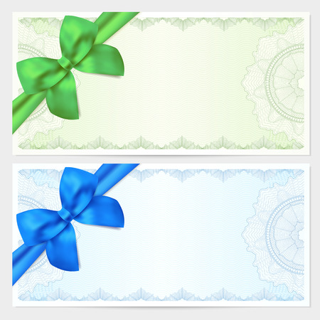 Voucher, Gift certificate, Coupon, ticket template. Guilloche pattern (watermark, spirograph) with bow (ribbon). Green, blue backgrounds for banknote, money design, currency, bank note, check (cheque) Vettoriali