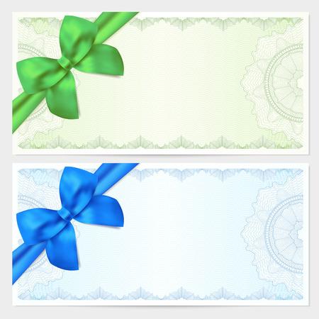 Voucher, Dárkový certifikát, kupón, šablona lístek. Guilloche vzor (vodoznak, Spirograph), s lukem (stuhou). Zelené, modré pozadí pro bankovky, peníze design, měna, bankovky, kontrola (check)