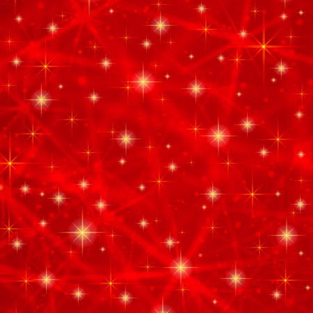 Abstract red background with sparkling twinkling stars. Cosmic shiny galaxy atmosphere. Holiday blank backdrop texture for Christmas Xmas, Happy New Year with glow milky way elements fantasy sky Ilustrace
