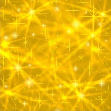shiny gold: Abstract gold background with sparkling twinkling stars. Cosmic shiny galaxy atmosphere. Holiday blank backdrop texture for Christmas Xmas, Happy New Year with glow milky way elements fantasy sky