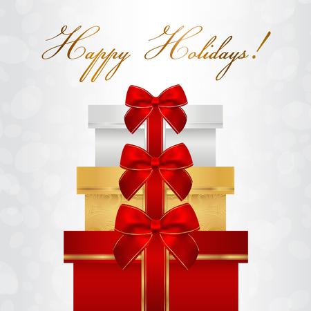 apilar: tarjeta de vacaciones, tarjeta de Navidad, tarjeta de cumpleaños, plantilla de la tarjeta de felicitación de tarjetas de regalo con grandes cajas de pila presenta, las cintas del arqueamiento rojos. Diseño de fondo de celebración de las fiestas de la invitación, la bandera Vectores