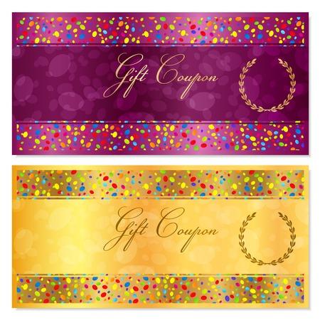 밝은 색종이 다채로운 입자, 원 상품권, 쿠폰, 상품권, 보상 또는 선물 카드 템플릿입니다. 선물 지폐, 수표, 선물 돈을 보너스, 전단지, 배너 골드 배경  일러스트