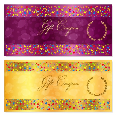banknote: Gift certificate, Coupon, Voucher, Reward or Gift card template with bright confetti colorful particles, circles. Gold background design for gift banknote, check, gift money bonus, flyer, banner
