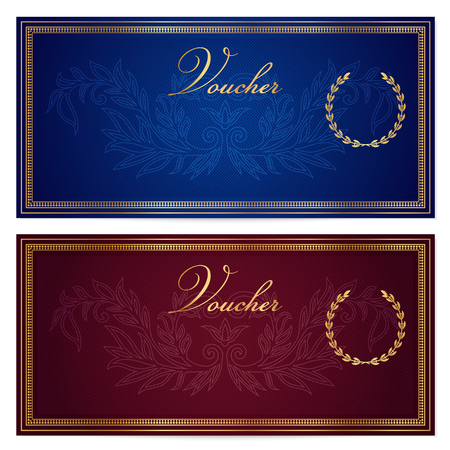 Voucher, Gift certificate, Coupon, Gift money bonus or Gift card template with scroll pattern border, frame. Background for reward design, invitation, ticket, banknote, currency, check cheque