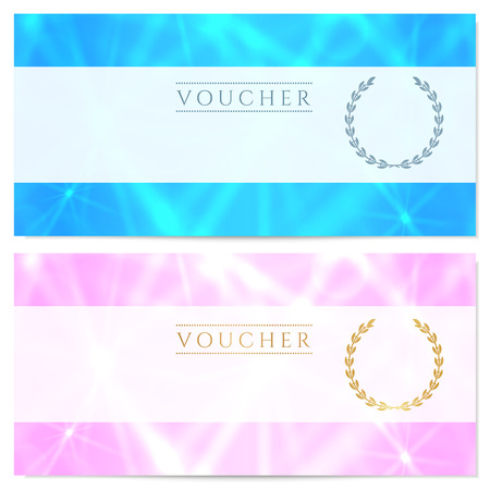 Gift certificate, Voucher, Coupon, Reward or Gift card template with sparkling, twinkling stars texture pattern. Background design for gift banknote, check, gift money bonus, ticket, flyer, banner