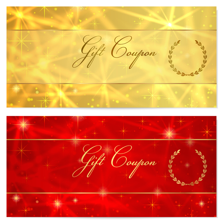 cheque en blanco: Certificado de regalo, vale, Cupón, recompensa o plantilla de la tarjeta de regalo con espumosos, estrellas que centellean patrón de textura. Diseño de fondo rojo, oro para el billete regalo, cheque, bonos dinero de regalo, boleto, volante
