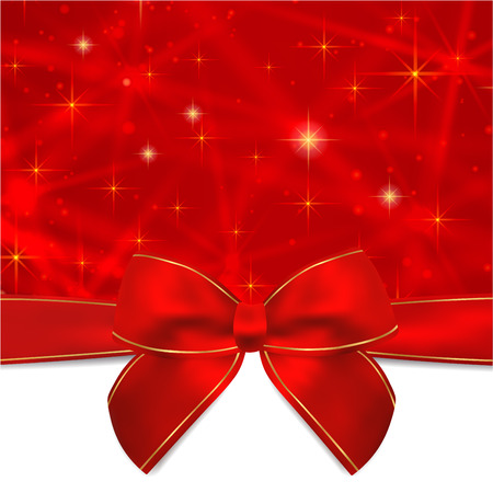 shine background: Holiday card, Christmas card, Birthday card, Gift card greeting card template with Red bow, ribbon present, sparkling, twinkling stars. Celebration background design for invitation, New Year