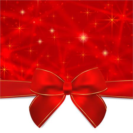 fondo rojo: Tarjeta de vacaciones, tarjeta de Navidad, tarjeta de cumplea�os, regalo plantilla de tarjeta de felicitaci�n de la tarjeta con el arco rojo, cinta de la actualidad, el chispear, estrellas que centellean. Dise�o Celebraci�n de fondo para la invitaci�n, A�o Nuevo