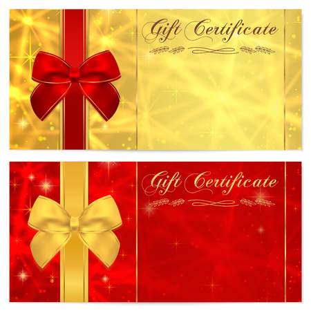 background color: Gift certificate, Voucher, Coupon, Invitation or Gift card template with sparkling, twinkling stars texture and bow ribbon. Red, gold background design for gift banknote, check, gift money bonus Illustration