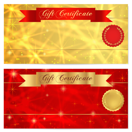 money cosmos: Gift certificate, Voucher, Coupon, Reward or Gift card template with sparkling, twinkling stars texture, ribbon banner. Red, gold background design for gift banknote, check, gift money bonus, flyer Illustration