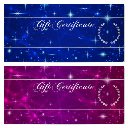 money cosmos: Gift certificate, Voucher, Coupon, Reward or Gift card template with sparkling, twinkling stars texture pattern. Dark blue background design for gift banknote, check, gift money bonus, flyer, banner