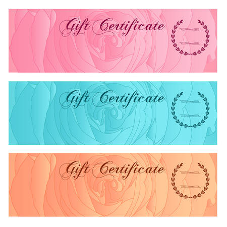 banknote: Gift certificate, Voucher, Coupon, Reward or Gift card template with floral rose silhouette  flower pattern. Set background design for gift banknote, check, gift money bonus, ticket, flyer, banner Illustration