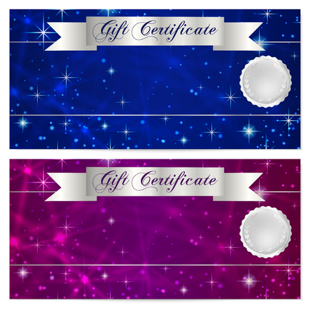 money cosmos: Gift certificate, Voucher, Coupon, Reward or Gift card template with sparkling, twinkling stars texture, ribbon. Dark blue background design for gift banknote, check, gift money bonus, flyer, banner Illustration