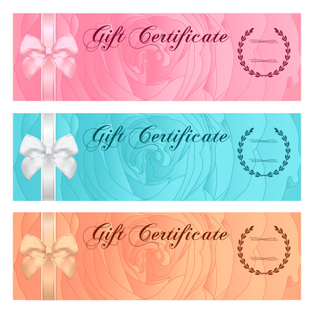 banknote: Gift certificate, Voucher, Coupon, Reward  Gift card template with bow, floral rose silhouette  flower pattern. Set background design for gift banknote, check, gift money bonus, ticket, flyer, banner