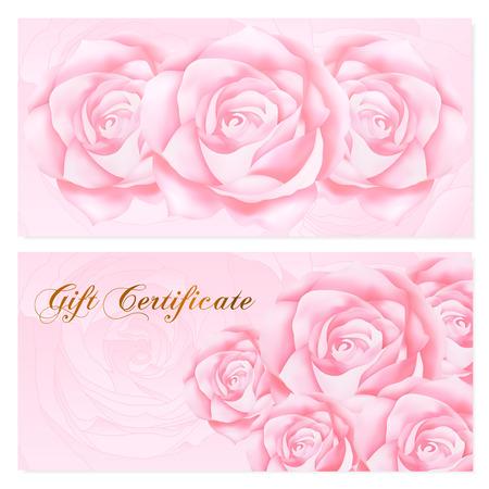 remuneraci�n: certificado de regalo, vale, cup�n, recompensa plantilla de la tarjeta de regalo con el modelo de flores de rosa. Conjunto de dise�o de fondo femenino floral para el billete regalo, cheque, la prima dinero de regalo, entradas, folleto, banner