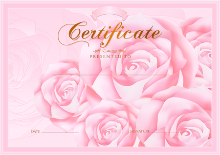 pink rose: Certificate, Diploma of completion Rose design template, flower background with floral, pattern, border, frame. Certificate of Achievement, coupon, award, winner certificate, pink female gift card