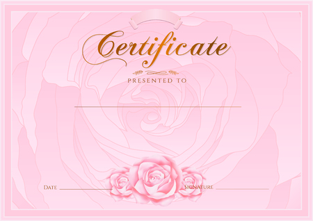 completion: Certificate, Diploma of completion Rose design template, flower background with floral, pattern, border, frame. Certificate of Achievement, coupon, award, winner certificate, pink female gift card