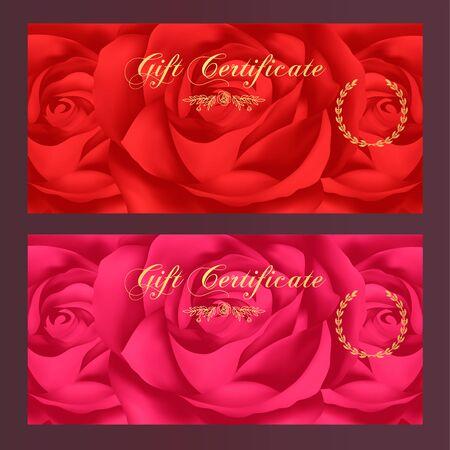remuneraciones: certificado de regalo, vale, cup�n, Recompensa plantilla de la tarjeta de regalo con rosa roja patr�n de flores. Dise�o de fondo floral femenina establecido para el billete regalo, cheque, la prima dinero de regalo, entradas, folleto, banner Vectores