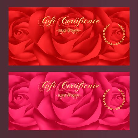 feminine background: Gift certificate, Voucher, Coupon, Reward  Gift card template with red rose flowers pattern. Floral feminine background design set for gift banknote, check, gift money bonus, ticket, flyer, banner Illustration