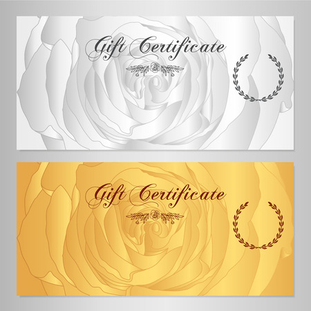 banknote: Gift certificate, Voucher, Coupon, Reward  Floral Gift card template with rose flowers pattern. Feminine background design set for gift banknote, check, gift money bonus, ticket, flyer, gold banner
