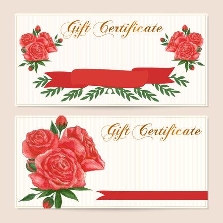 remuneraci�n: certificado de regalo, vale, cup�n, Recompensa plantilla de tarjeta de regalo con la vendimia rosa roja patr�n de flores. Dise�o de fondo floral femenina establecido para el billete regalo, cheque, dinero bono regalo, la compra de entradas, folleto
