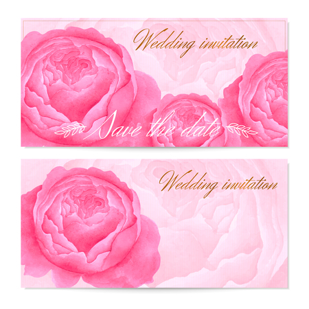 vintage rose: Save The Date Wedding invitation  Floral Greeting card Gift certificate  coupon with vector watercolor flowers peonies, rose pattern, elegant design frame, calligraphy. Aquarelle illustration