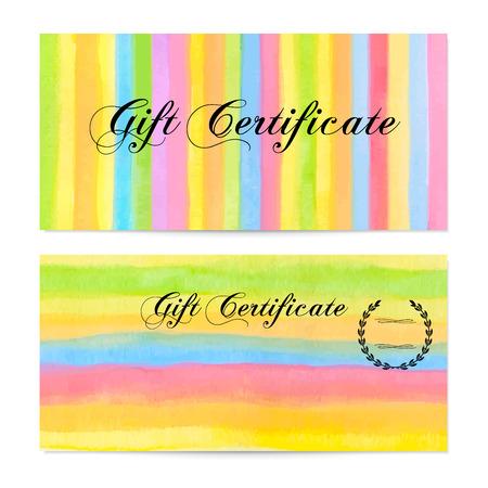 remuneraci�n: Certificado de regalo, vale, Cup�n, bono de dinero de regalo, plantilla de la tarjeta de regalo con coloridas rayas rayas, modelo de la l�nea de fondo. Vector de la acuarela con la textura del arco iris para el dise�o recompensa, entradas, check Vectores