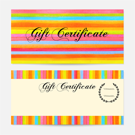 Gift certificate, Voucher, Coupon, Gift money bonus, Gift card template with colorful stripy stripes, line pattern background. Vector watercolor with rainbow texture for reward design, ticket, check