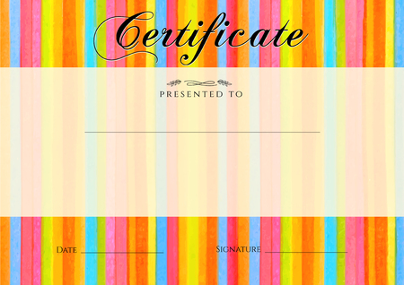 background frame: Certificate, Diploma of completion with colorful stripy stripes border, line pattern background. Vector watercolor with rainbow texture for Certificate of Achievement, coupon, award frame, winner Illustration