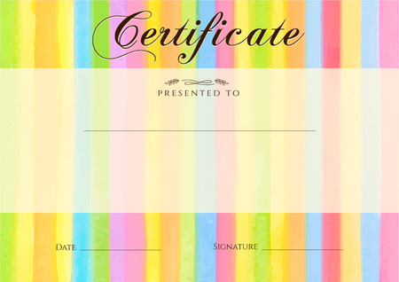 an achievement: Certificate, Diploma of completion with colorful stripy stripes border, line pattern background. Vector watercolor with rainbow texture for Certificate of Achievement, coupon, award frame, winner Illustration