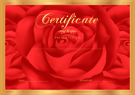 red rose border: Certificate, Diploma of completion Rose design template, flower background with floral, pattern, border, frame. Certificate of Achievement, gift coupon, award, winner certificate, dark red female Illustration